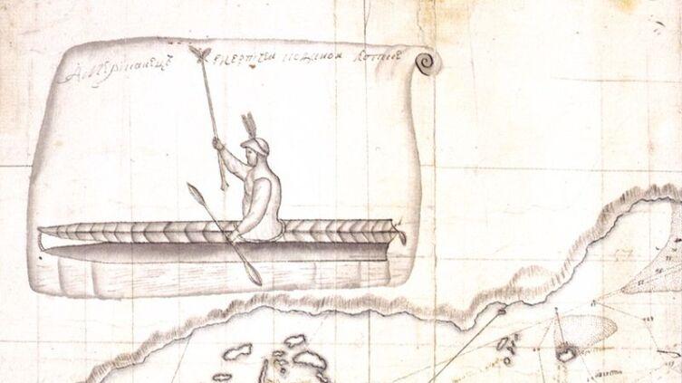 Встреча руччких с алеутами. Рисунок Свена Вакселя, сделанный во время экспедиции