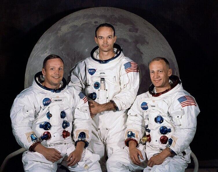 слева направо: Нил Армстронг, Майкл Коллинз, Эдвин Олдрин