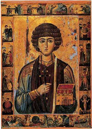 Единственная житийная икона св. Пантелеймона византийского времени