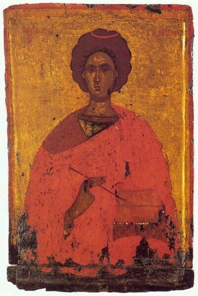 Святой Пантелеимон, энкаустическая икона, XI век