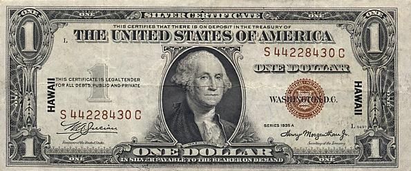 1 доллар США с портретом Джорджа Вашингтона. Надпечатка Гавайи на случай оккупации островов Японией. 1942