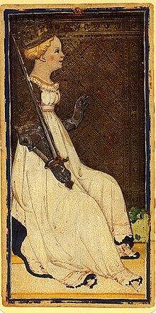 Дама мечей из колоды Таро Висконти-Сфорца