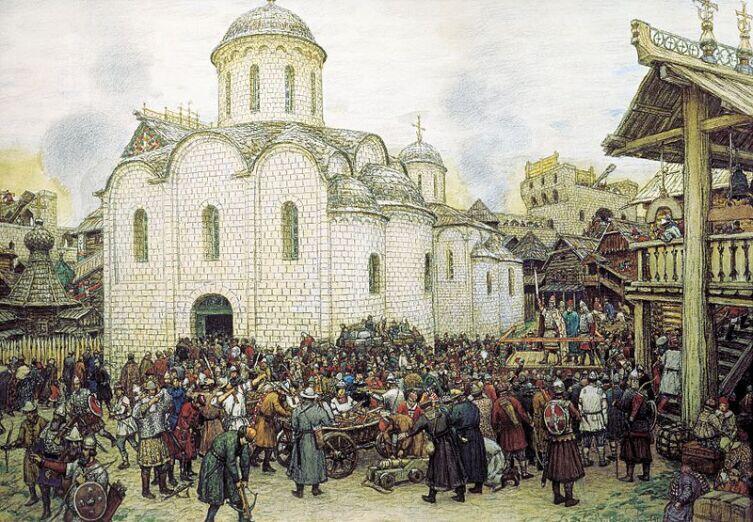 А. М. Васнецов, «Оборона Москвы от хана Тохтамыша. XIV век», 1918 г.