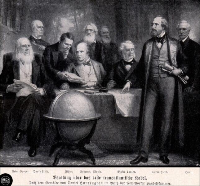 В компанию «Atlantic Telegraph» входили важные люди. Сайрус Филд— на переднем плане. В центре на заднем плане— Сэмюэль Морзе