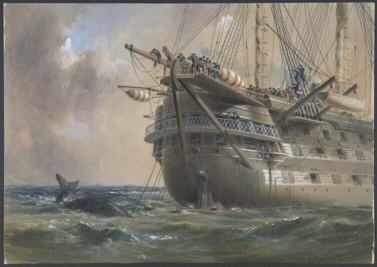 Прокладка самого первого подводного кабеля с палубы корабля «Агамемнон» в 1856 году. Художник Роберт Дадли (1826— 1909).