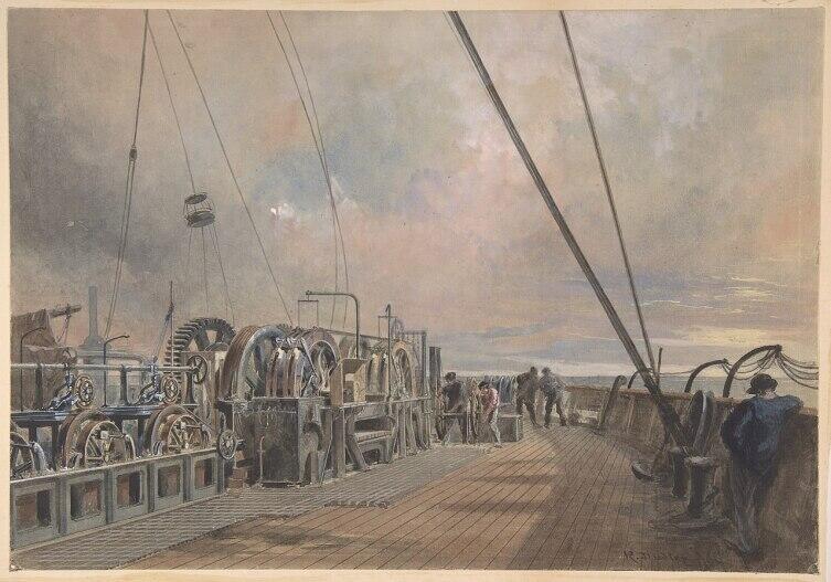 На палубе корабля «Great Eastern». Прокладка кабеля летом 1865 года. Художник Роберт Дадли (1826— 1909).
