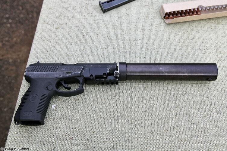 СР1МП с установленным ПБС и планкой (SR1MP with silencer)