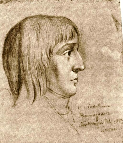 Наполеон в 16 лет, автор рисунка неизвестен