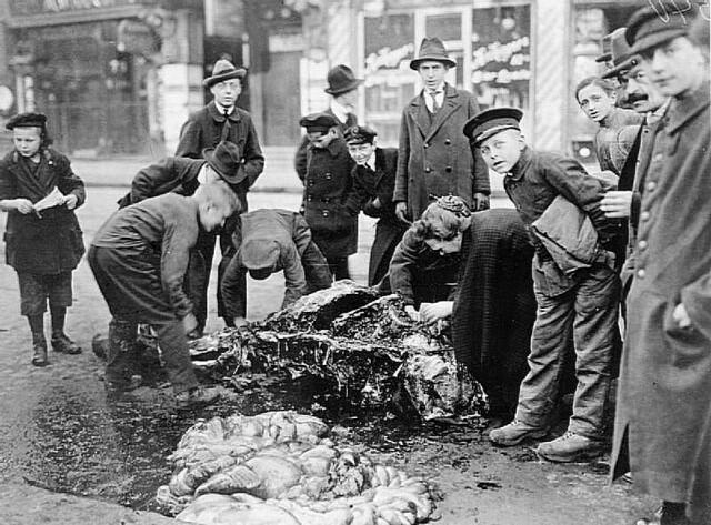 Голодные немцы разделывают мертвую лошадь на мясо. Берлин, 1919 г.