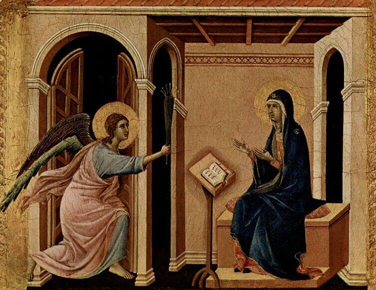 Архангел Гавриил приносит Деве Марии весть о предстоящей кончине (Дуччо, Маэста, деталь. 1308—1311)