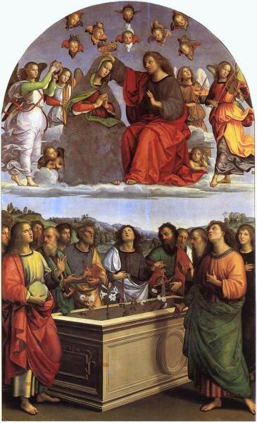 Картина Рафаэля содержит сюжет успения и коронования