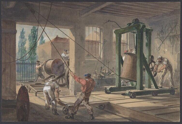 Покрытие телеграфного подводного кабеля гуттаперчей на заводе в Гринвиче