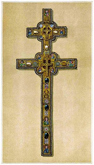 Изображение креста Евфросиньи Полоцкойиз издания «Белоруссия и Литва», 1889 г.