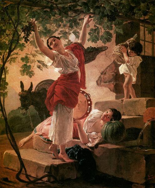 К. П. Брюллов, «Девушка, собирающая виноград в окрестностях Неаполя», 1827 г.