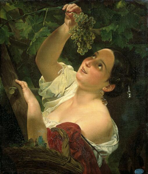 К. П. Брюллов, «Итальянский полдень ( Итальянка, снимающая виноград )», 1827 г.