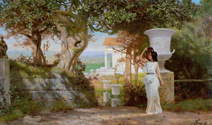 Г. И. Семирадский, «Девушка с кувшином в оливковой роще»