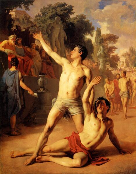 В. П. Верещагин, «Сцена из Олимпийских игр. Борьба», 1860 г.