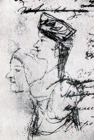 Рисунок А. С. Пушкина, предположительно изображающий Арину Родионовну в молодости и в старости, 1828 г.