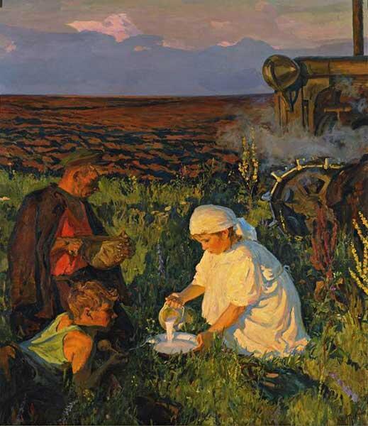 А. А. Пластов, «Ужин трактористов», 1951 г.