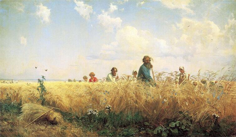 Г. Г. Мясоедов, «Страдная пора (Косцы)» 1887 г.