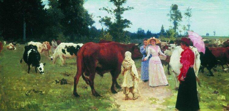 И. Е. Репин, «Барышни среди стада коров»