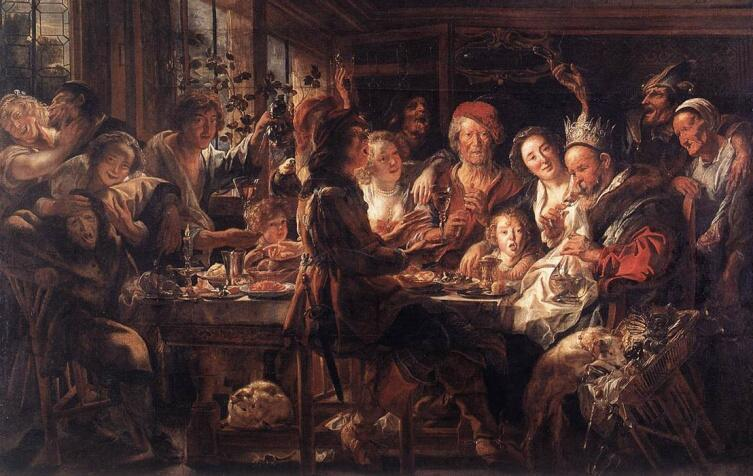 Якоб Йорданс, «Застолье бобового короля», 1645 г.