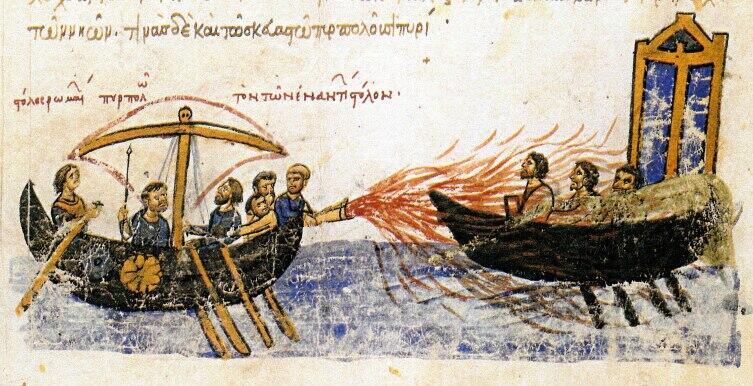 Использование греческого огня. Миниатюра Мадридского Скилица, «Хроники» Иоанна Скилицы
