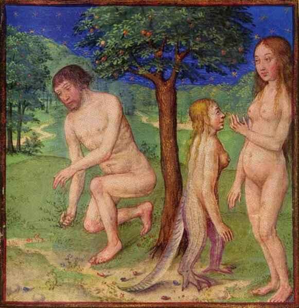 Адам, Ева и Лилит на древнем манускрипте