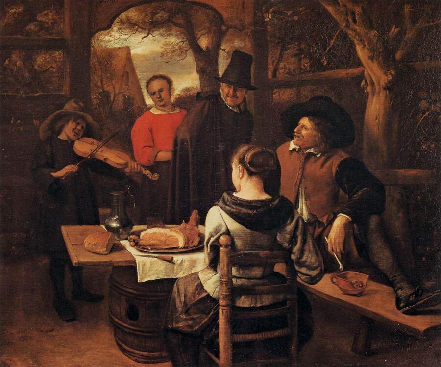 Ян Стен, «Ужин», 1650 г.