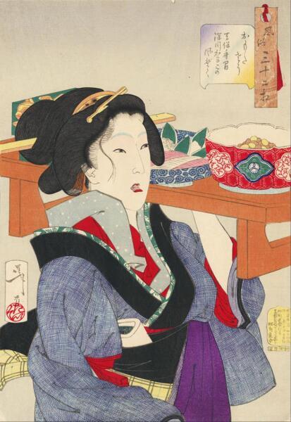 Цукиока Ёситоси, «Трудолюбивая официантка из Фукугавы периода Тэнпо. Серия
