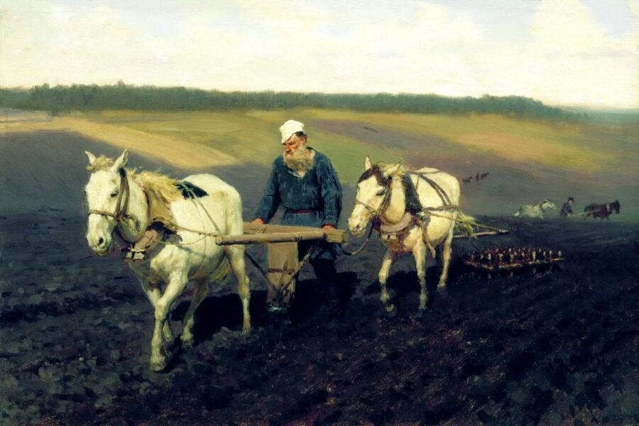И. Е. Репин, «Пахарь. Лев Николаевич Толстой на пашне», 1887 г.