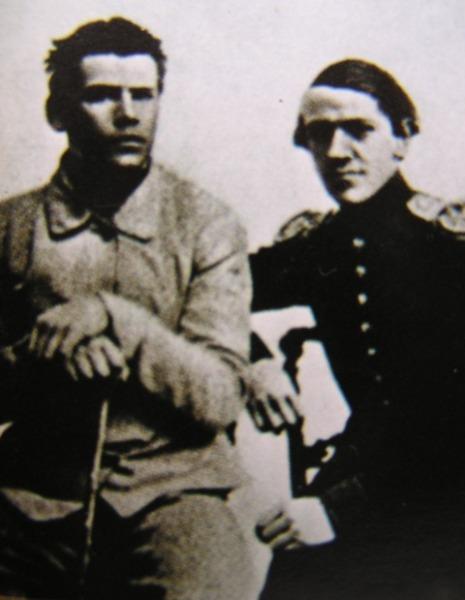 Толстой и его брат Николай перед отправлением на Кавказ, 1851 г.
