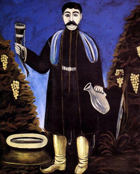 Нико Пиросмани (Пиросманашвили), «Князь с рогом вина», 1908 г.
