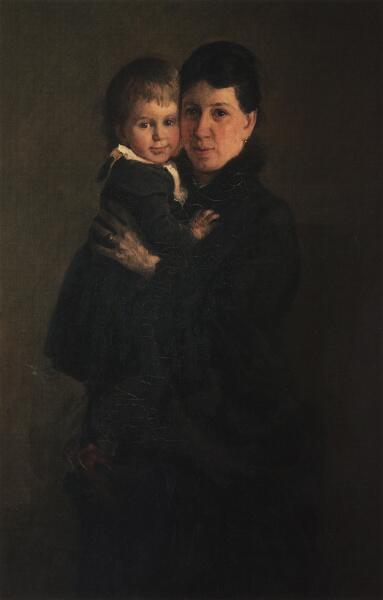 Н. Н. Ге, «Портрет Софьи Андреевны Толстой, жены писателя, с дочерью Александрой», 1886 г.