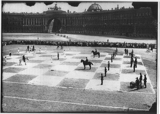 «Живые шахматы» на Дворцовой площади, 1924 год