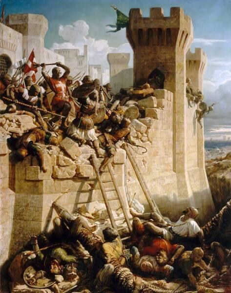 Доменик Луи Ферроль-Папетти, «Великий магистр госпитальеров Матье де Клермон защищает стены Акры во время осады в 1291 году», 1845 г.