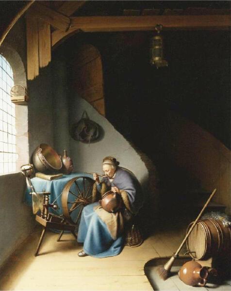 Герард Доу, «Старушка ест кашу», 1637 г.