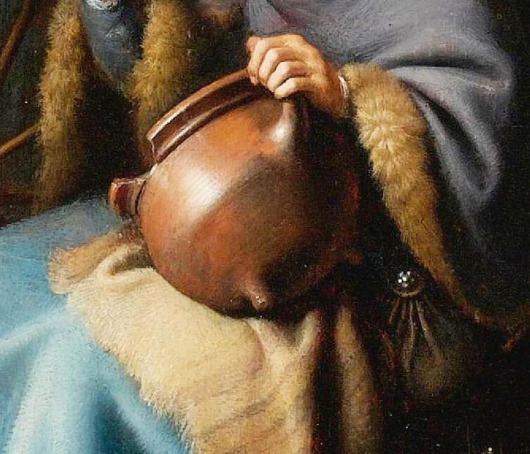 Герард Доу, «Старушка ест кашу», фрагмент