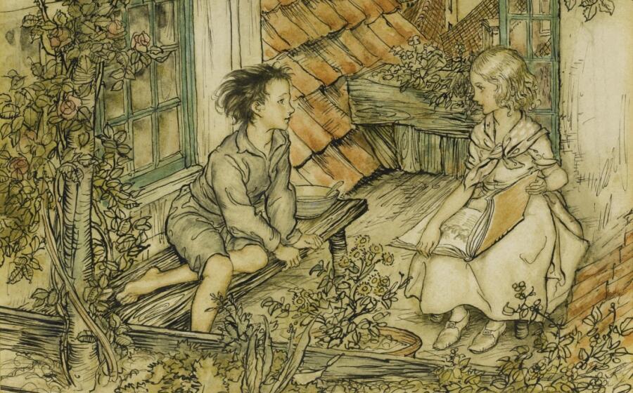 Артур Рэкхэм, «Кай и Герда на крыше» (фрагмент), 1932 г.