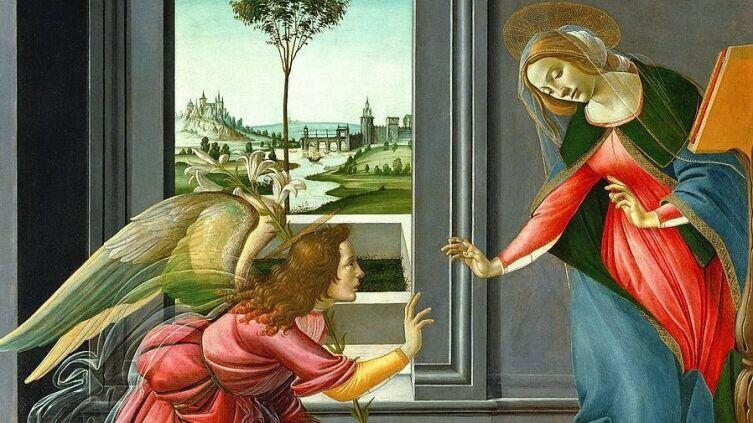 Сандро Боттичелли, «Благовещение» (фрагмент), 1490 г.