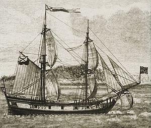 Пакетбот «Святой Пётр» капитана-командора Витуса Беринга на рисунке XIX века
