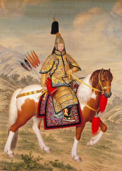 Джузеппе Кастильоне, «Император Цяньлун в церемониальных доспехах на коне»