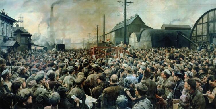 И. И. Бродский, «Выступление В.И. Ленина на митинге рабочих Путиловского завода в мае 1917 года», 1929 г.