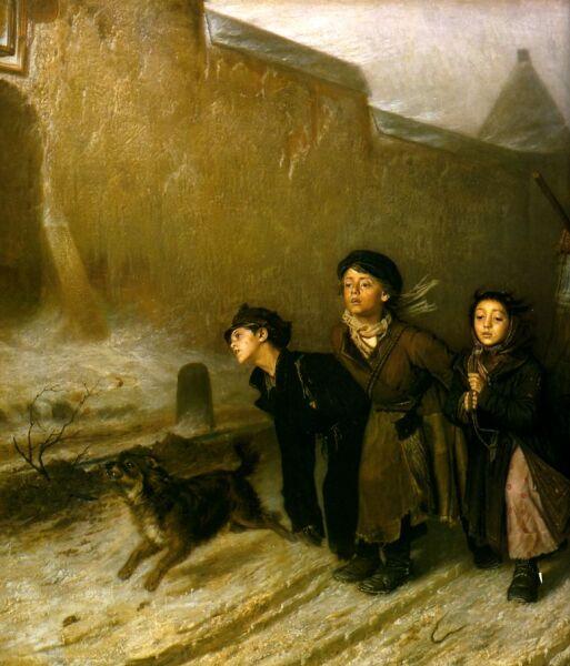 В. Г. Перов, «Тройка (Ученики мастеровые везут воду)»  (фрагмент), 1866 г.