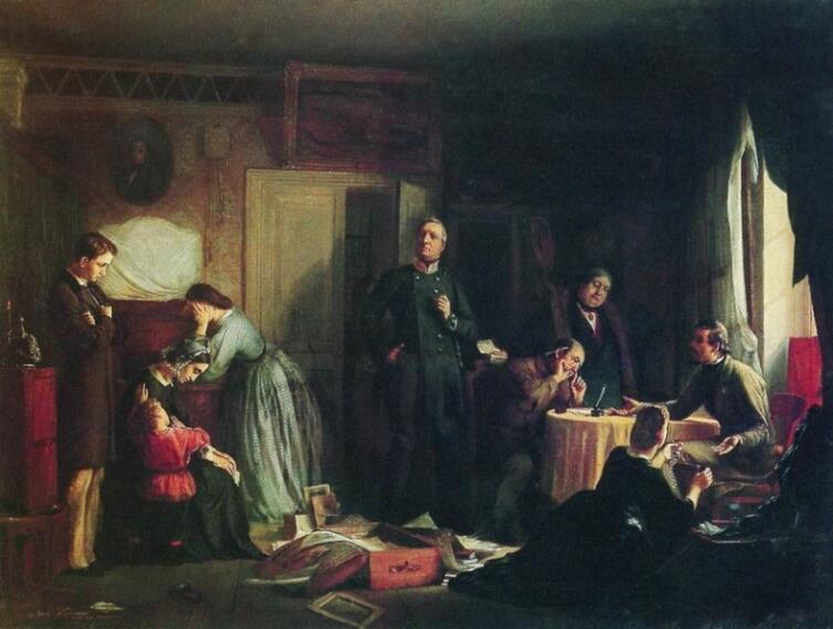 Ф. С. Журавлев, «Кредитор описывает имущество вдовы», 1862 г.