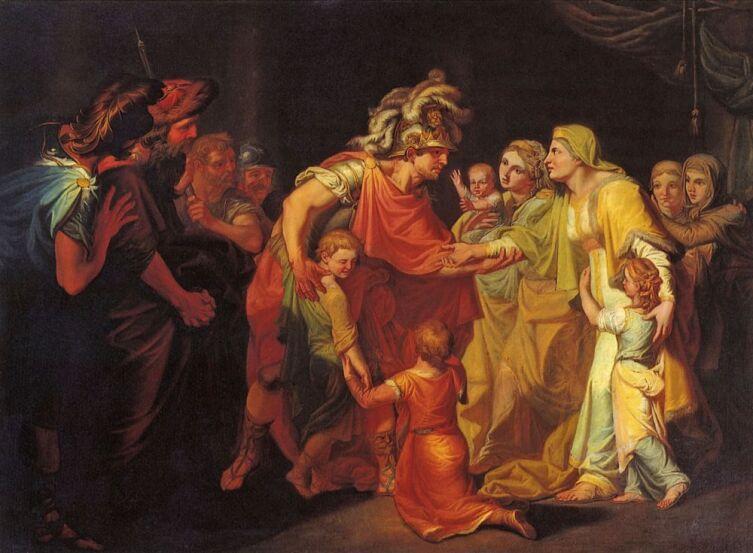 И. А. Акимов, «Великий князь Святослав, целующий мать и детей своих по возвращении с Дуная в Киев», 1773 г.