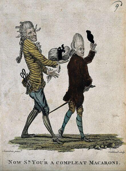 Карикатура на мужские парики, XVIII век