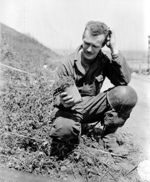 Солдат 90-й пехотной дивизии США осматривает обезвреженную немецкую мину S.Mi.35 в Нормандии