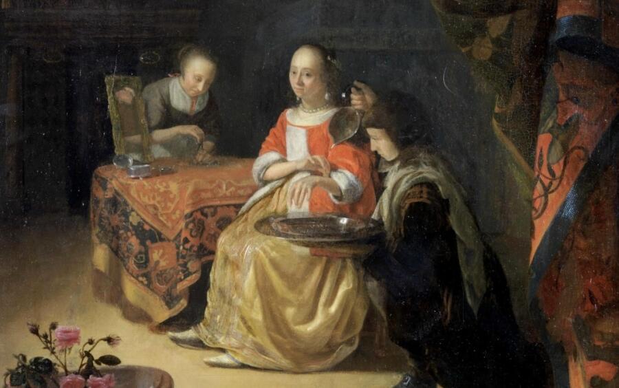 Годфрид Схалкен, «Кровопускание юной даме» (фрагмент), конец XVII века