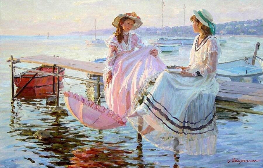 А. Н. Аверин, «Две девушки на пирсе в Нормандии, слева дочь художника»